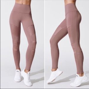 Alo Moto High Waist Pink Leggings Mesh M Medium